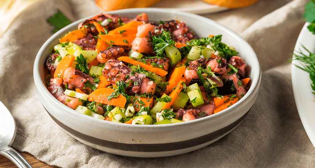 pulpo con verduras - brocoli