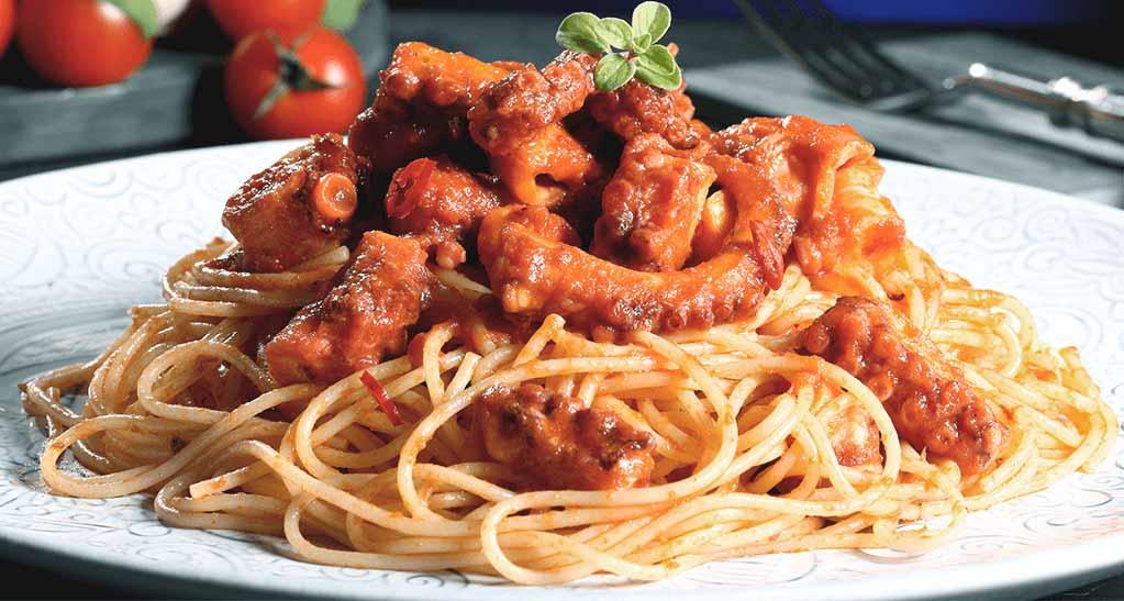 Receta de espaguetis con pulpo