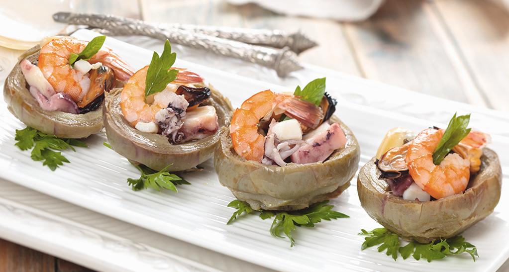 Alcachofas rellenas de marisco: mejillones, pulpo y langostinos