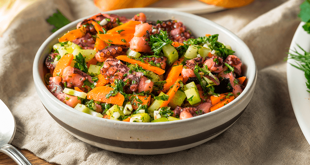 pulpo con verduras