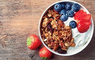 Yogur con frutas y muesli